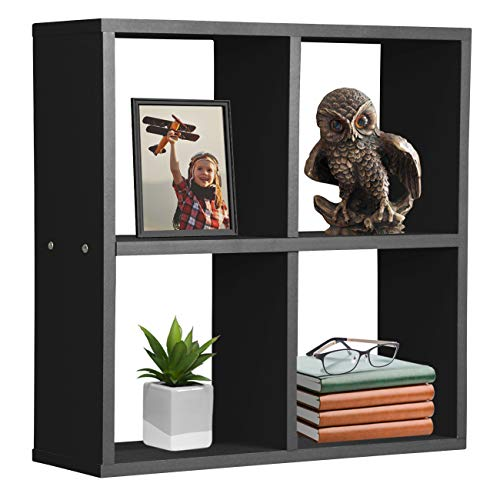 Sorbus Floating Shelf 4-Cube Organizer — Stair Wall Shelf with 4 Openings, Decorative Hanging Display for Photo Frames, Collectibles, and Home Décor (Geometric 4-Square – Black)