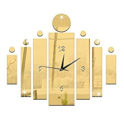 Happy Hours - Creative Wall Clocks / Home DIY Decoration Watch / Acrylic Craft Living Room Mirror 3D Wall Design(Golden)
