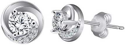 "J.Rosée Sterling Silver Cubic Zirconia Studs Earrings ""Never Ever Be Apart"" 3A Zirconia Mothers Day Gift"