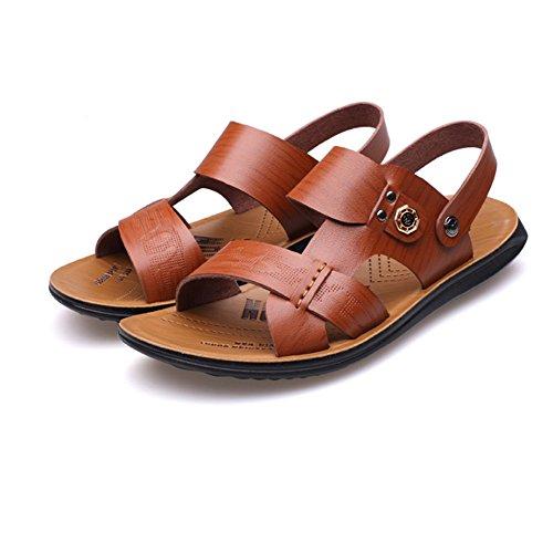 playa del de hombres y de ocasionales respirables pie ajustables aire los cuero sandalias los ocio de del la verano libre interiores del convenientes de Brown antideslizantes deportes dedo para Sandalias al vwqaTn5T