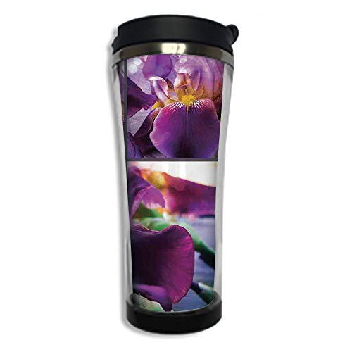 Stainless Steel Insulated Coffee Travel Mug,Spill Proof Flip Lid Insulated Coffee cup Keeps Hot or Cold 8.45 OZ(250 ml)Customizable printing byRustic,Blooming Iris Flowers Orchids on Rustic Wood Natur ()