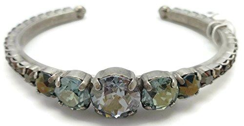 Sorrelli Blue Brocade Round Graduated Antique Silver Plated Crystal Cuff Bracelet ()