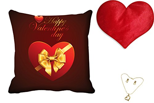 meSleep Red Happy Valentine Digital Printed Cushion (With Filler) free and Pendant Set