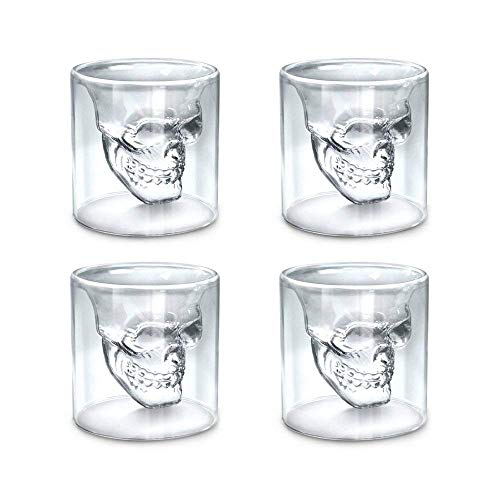 Skull Face Beer Mug Set of 4 2.5oz Shot Glass Mug,Crystal Drinking Set Funny for Men,Creative Whiskey Glasses,Double Wall Cool Beer Cup for Wine Cocktail Vodka,Home Bar Cup ()