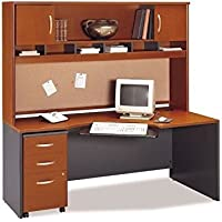 Bush Furniture Wood Home Office Computer Desk Set with Hutch in Auburn Maple