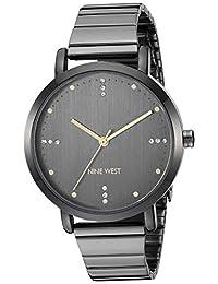Nine West - Reloj de pulsera para mujer con detalles de vidrio, Gris plomizo
