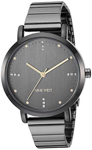 Nine West Women's NW/2279GYGY Crystal Accented Dark Gunmetal Bracelet Watch