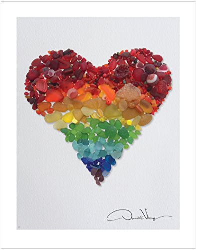 LOVE - Rainbow Sea Glass Heart Poster Print. 11x14 Great for Framing. Best Quality Gifts