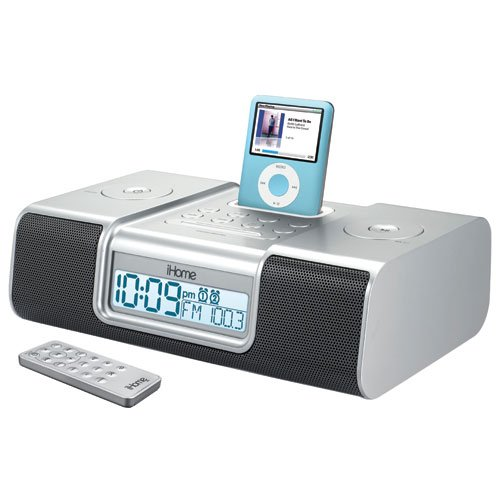 iHome iH9 Alarm Clock Speaker System with Dock for iPod (Silver) by Sound Design