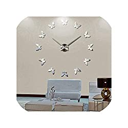 Living Room Accessories 3D Wall Clock Stickers Large Decorative House Clock On The Wall,Silver,47 Inch