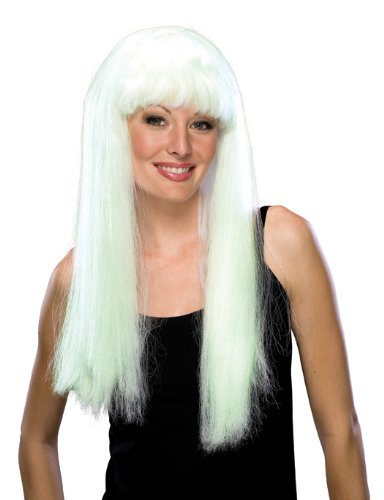 Rubie's Costume Glow-In-The-Dark Long Wig, White, One (Sonny Cher Costumes Halloween)