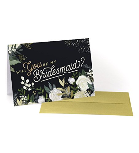 Will You be My Bridesmaid? 6-Pack Cards, Gold Accents, Maid of Honor, Floral, Peonies, Succulents (Vintage (Will Accent)