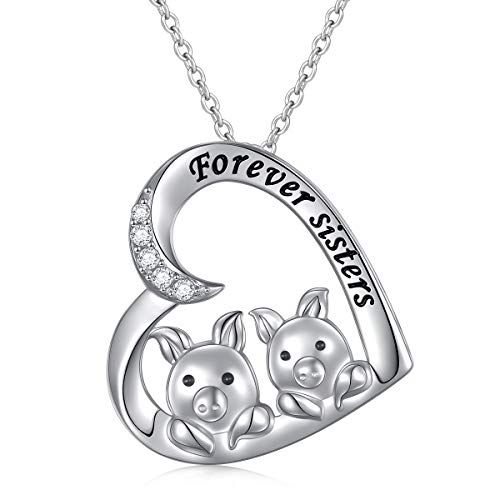 Friend Pig - 925 Sterling Silver Cubic Zirconia Sister Forever Two Best Friend Heart Pig Pendant Necklace Friendship BFF Gift for Women Girls, 18