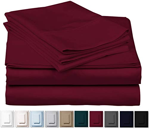 Kemberly Home Collection 1000 Thread Count 100% Pure Egyptian Cotton - Sateen Weave Premium Bed Sheets, 4 -Piece Burgundy Queen-Size Luxury Sheet Set, Fits Mattress Upto 18