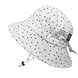 JAN & JUL Children's Foldable Summer Sunhat 50 UPF, Drawstring Adjustable, Stay-on Chin Strap (L: 2-5Y, Dots)
