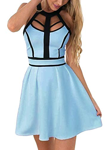 (Drimmaks Women's Halter Neck Colorblock Backless Blue Mini A Line Swing Cocktail Party Dress (L, DM003-Light Blue))