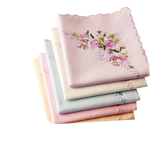- 6 Colored of Ladies Embroidered Cotton Large SoftHandkerchiefs Perfect Giftes Set