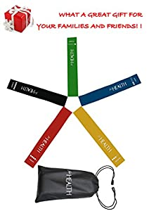 ForHealth Resistance Loop Bands Exercise Bands Workout Bands,Set of 5 for Fitness Training,Physical Therapy Rehab,Yoga and Pilates Workout,Elegant Handy Carry Bag and Useful Ebook User Manual Included