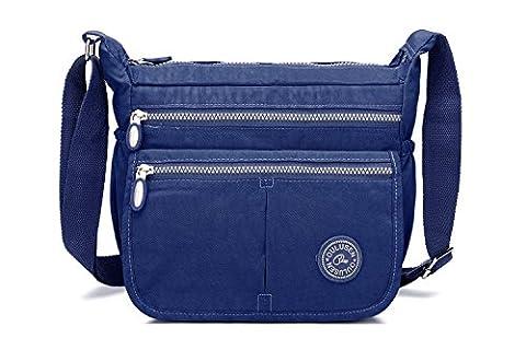 Women's Cross-body Bag,iNeseon [Nylon Water Resistant] Multipockets Shoulder Handbag Cross Body Bag for Women [Deep Blue]
