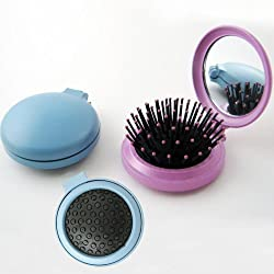 Travel Folding Hair Brush Mirror Pocket Purse Car Camping Compact 2.5 Gift 1Pc