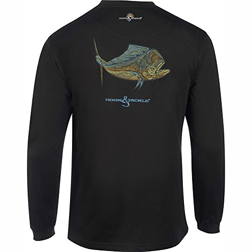 Fishing Long Sleeve Cotton Shirt (Hook & Tackle Men's Bull Dolphin et Long Sleeve Sun Protection Fishing Shirt Black XXLarge)