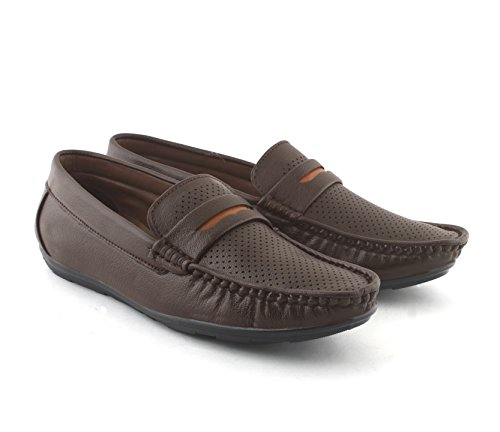 AORFEO Leather Loafer Shoes for Men Brown LO67_9
