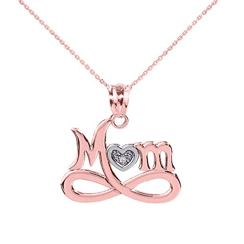 - Mother's Jewelry 10k Rose Gold Infinity MOM Heart with Diamond Pendant Necklace, 18
