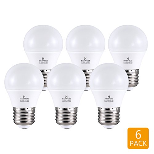 Hansang A15 E26 LED Bulb Light 6 Watt G45,Ra83 600lm 5000K Daylight No Dimmable,60w Equivalent,6 Pack (Daylight(5000K)