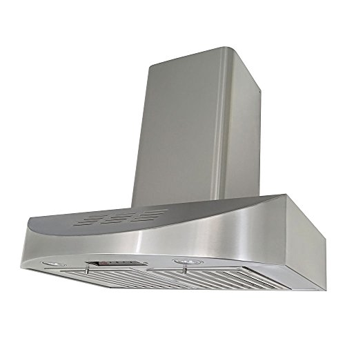 (KOBE CHX3830SQBD-WM-3 Brillia 30-inch Ductless Wall Mount Range Hood, 3-Speed, 400 CFM, Fits Ceiling Height)
