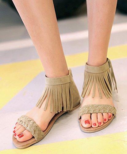 Aisun Moda Donna Nappe Frangiate Tessuto Posteriore Cerniera Fibbia Open Toe Caviglia Avvolgere Talloni Ricoperti Sandali Piatti Scarpe Beige