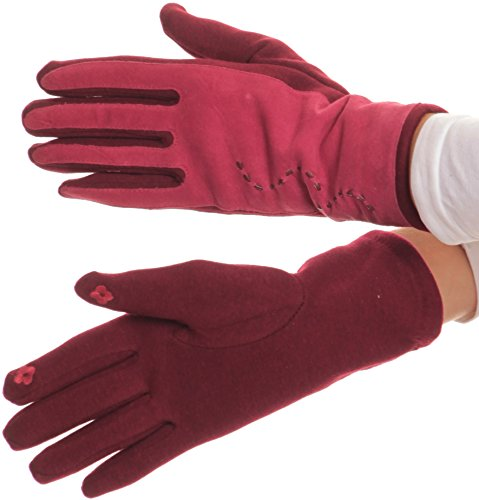 Sakkas 16164 - Lidy Leather Embroidered Comfortable Warm Snow Touch Screen Finger Gloves - Red - L/XL