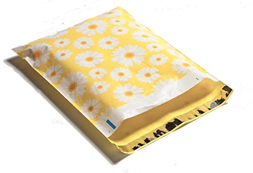 10x13 Yellow & White Daisy Designer Poly Mailers Shipping Envelopes Boutique Custom Bags (100)