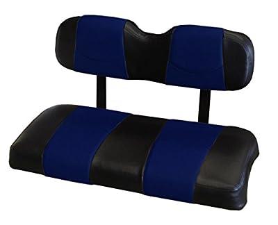 Kool Cushions EZGORXV-BKBLCPST-01 -Custom Vinyl Golf Cart Seat Covers Front Only-Black WithBlue Chip Stripe - For EZ-GO RXV Golf Cart