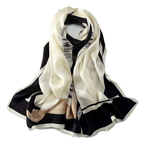 - Long Charmeuse Silk Scarf Floral and Graphic Print (Black White Abstract)
