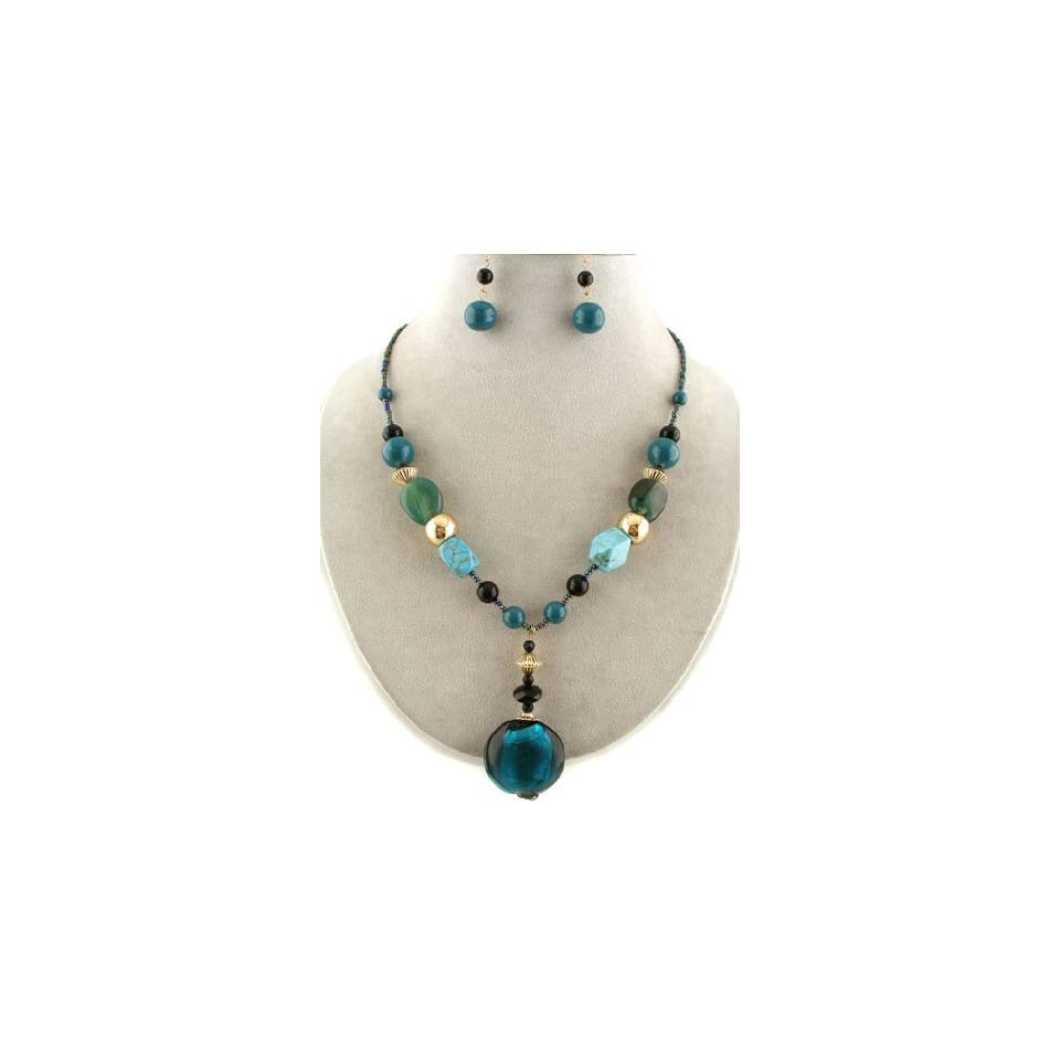 Fashion Jewelry ~ Teal Murano Glass Pendant Beads Necklace and Earrings Set