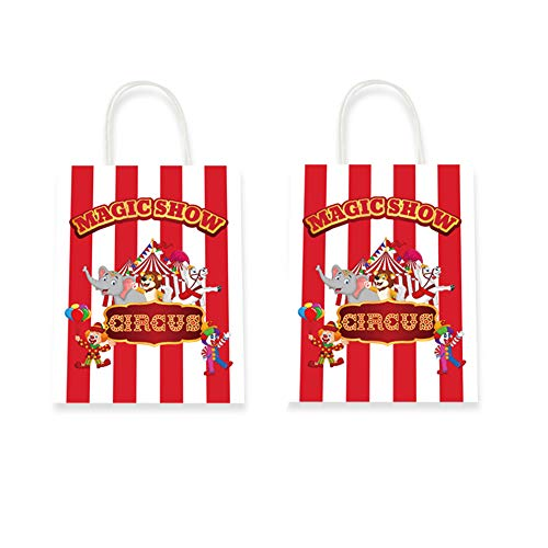 CC HOME Carnival Circus Decorations,Circus Carnival Party Bags ,Red & White Striped Goody Party Favor Bags,Gift Bags,Paper Treat Bags For boys ,Girls Kids Adults Woodland Animal,Carnival Circus Baby Shower Themed Birthday Party Supplies Decorations, 10 Packs ()