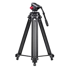 Andoer 72inch Video Photo Tripod Fluid Hydraulic Head with Professional Quick Release Plate & Carrying Bag for Canon Nikon Sony DSLR Camera Video Recorder DV Max Load 8KG