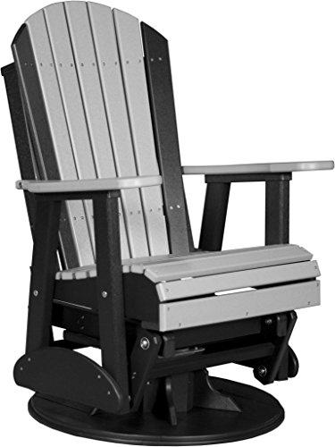 Swivel Poly - Furniture Barn USA 2' Poly Adirondack Swivel Glider Chair - Dove Gray and Black Color