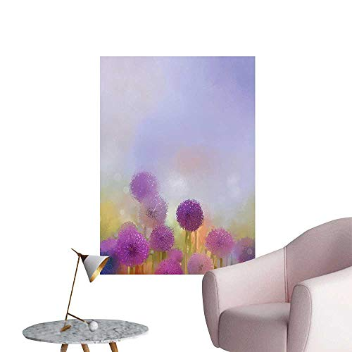 Wall Decals Onion in Meadow Pastoral Scenery at Springtime Illustration Lavander Purple Environmental Protection Vinyl,20