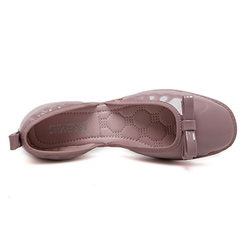Cuxialilin Mujer's Charol Sólido Cuadrado Cerrado Bowknot Pisos-zapatos Purple