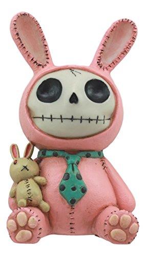 (Ebros Furrybones Pink Bunny Voodoo Skeleton Money Bank Statue 6