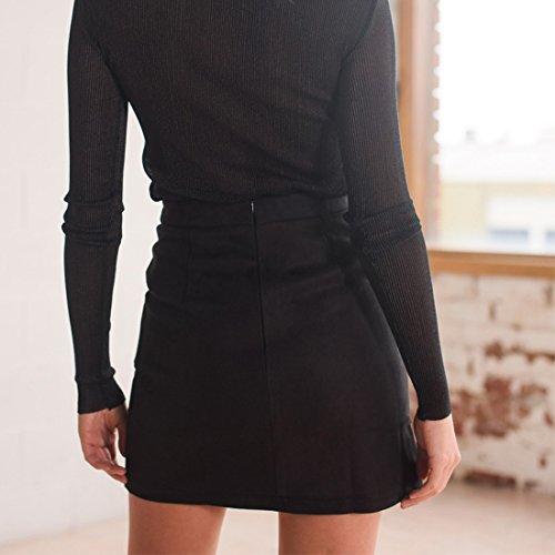 sexy fendu mini party jupe crayon courte Noir la portefeuille lacets taille femmes sude empire des 8ndBW1qdR