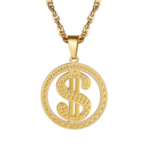 Dollar Sign Necklace,US Golden Money Bling Medallion on Chain,Hip Hop,Coin Necklace,Men Jewelry,Pendant Necklace,18K Gold Plated,PSP2945J