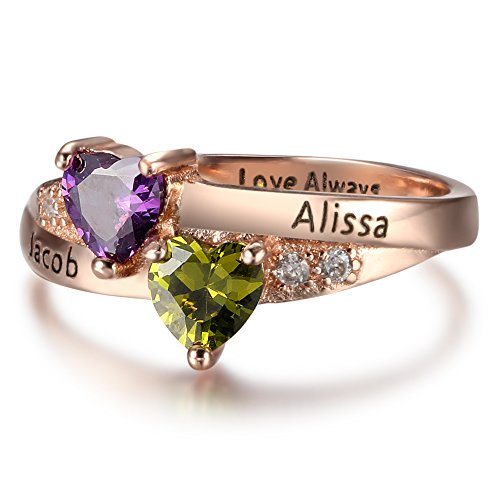 Personalized 2 Heart Simulated Birthstones Rings for Coulpes Engagement Promise Rings for Her DIY Jewelry