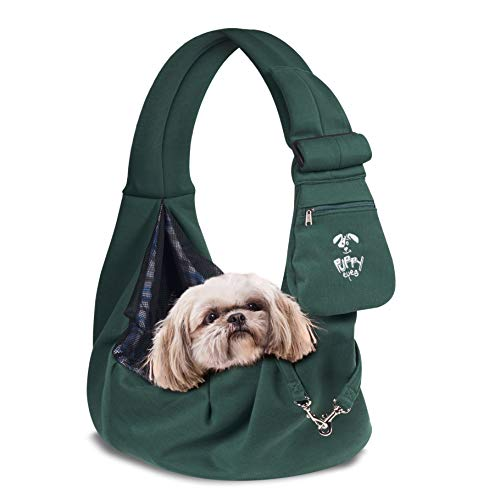 - Puppy Eyes Soft Pet Carrier Sling Comfortable and Adjustable Dog Sling Ideal for Small & Medium Dogs up to 16 Pounds - Lightweight & Easy-Care Dog Carrier with Safety Mesh and Safety Leash(Green)