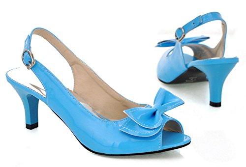Easemax Femmes Peep Toe Stiletto Kitten Talons Chaussures À Boucle Basse Coupe Chaussures Avec Des Arcs Bleus