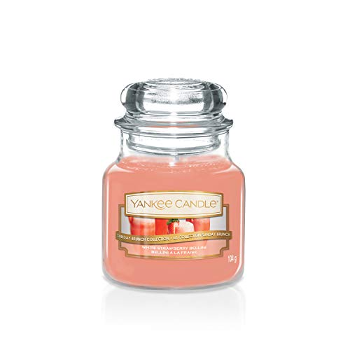Sunday Brunch Collection by Yankee Candle Small Jar Candle, White Strawberry Bellini
