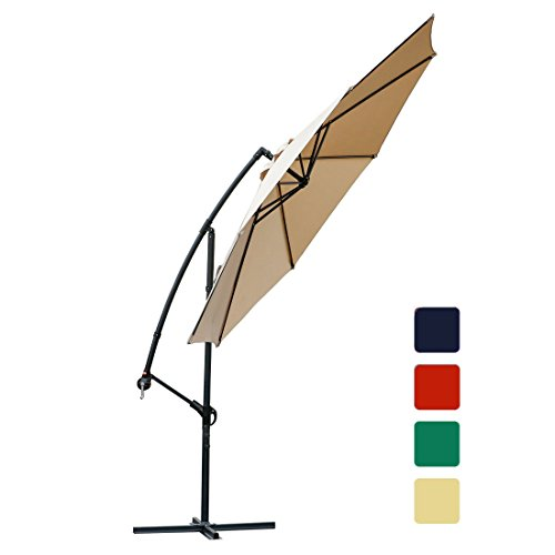 FARLAND Offset umbrella 10 Ft Cantilever Patio Umbrella Outdoor Market umbrellas with cross base (Beige) by FARLAND