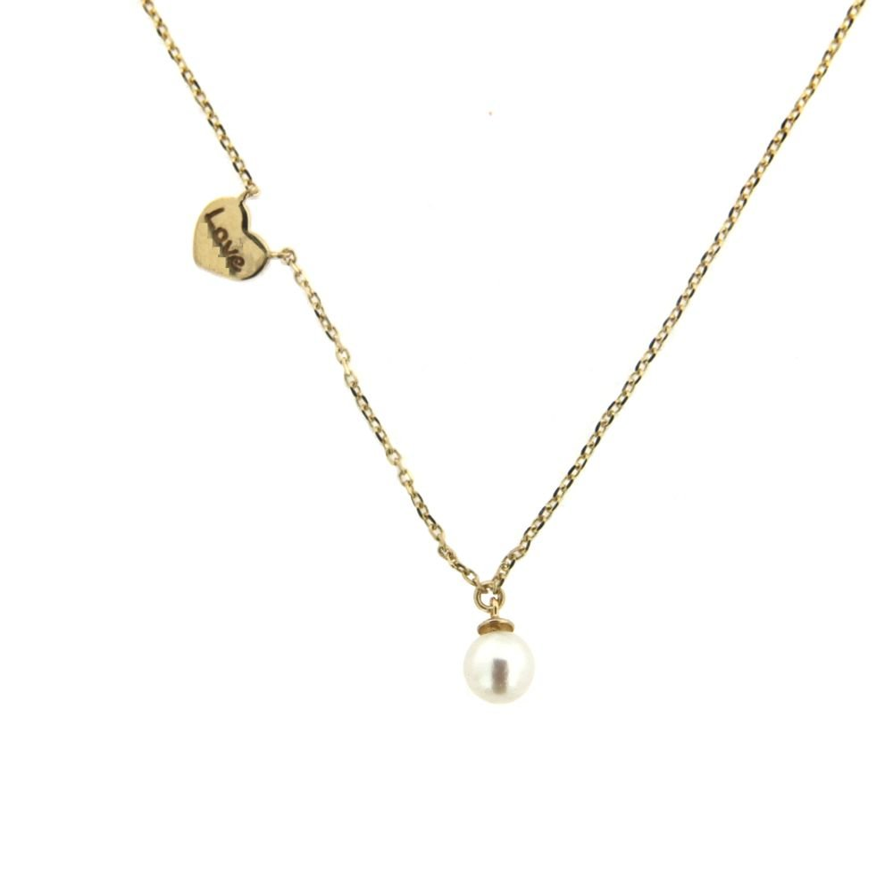 18K Yellow Gold Center Small Heart engraved LOVE with side fix cultivate 4.5 mm Cultivated Pearl Necklace 16 Inches