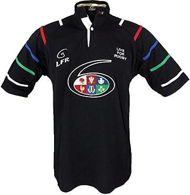 Negro 6 Naciones Transpirable Rugby Camisa - Grande: Amazon.es: Deportes y aire libre